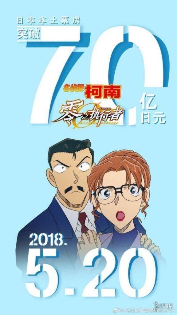 《名侦探柯南》剧场版票房突破70亿日元 连续五周票房冠军 - 零之执行人, 名侦探柯南 - ACG17.COM
